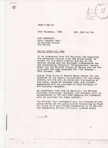 Letter concerning the organisation of the tour - as you can see, the original intention was to fly us out on a VC10, but in the end only the equipment was transported for us.